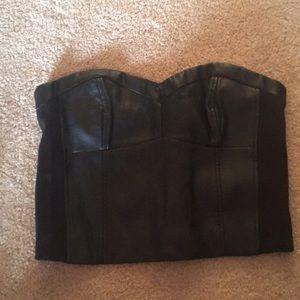 RW & Co. black faux leather crop top